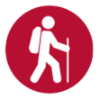 Wanderer mit Rucksack und Stab Icon